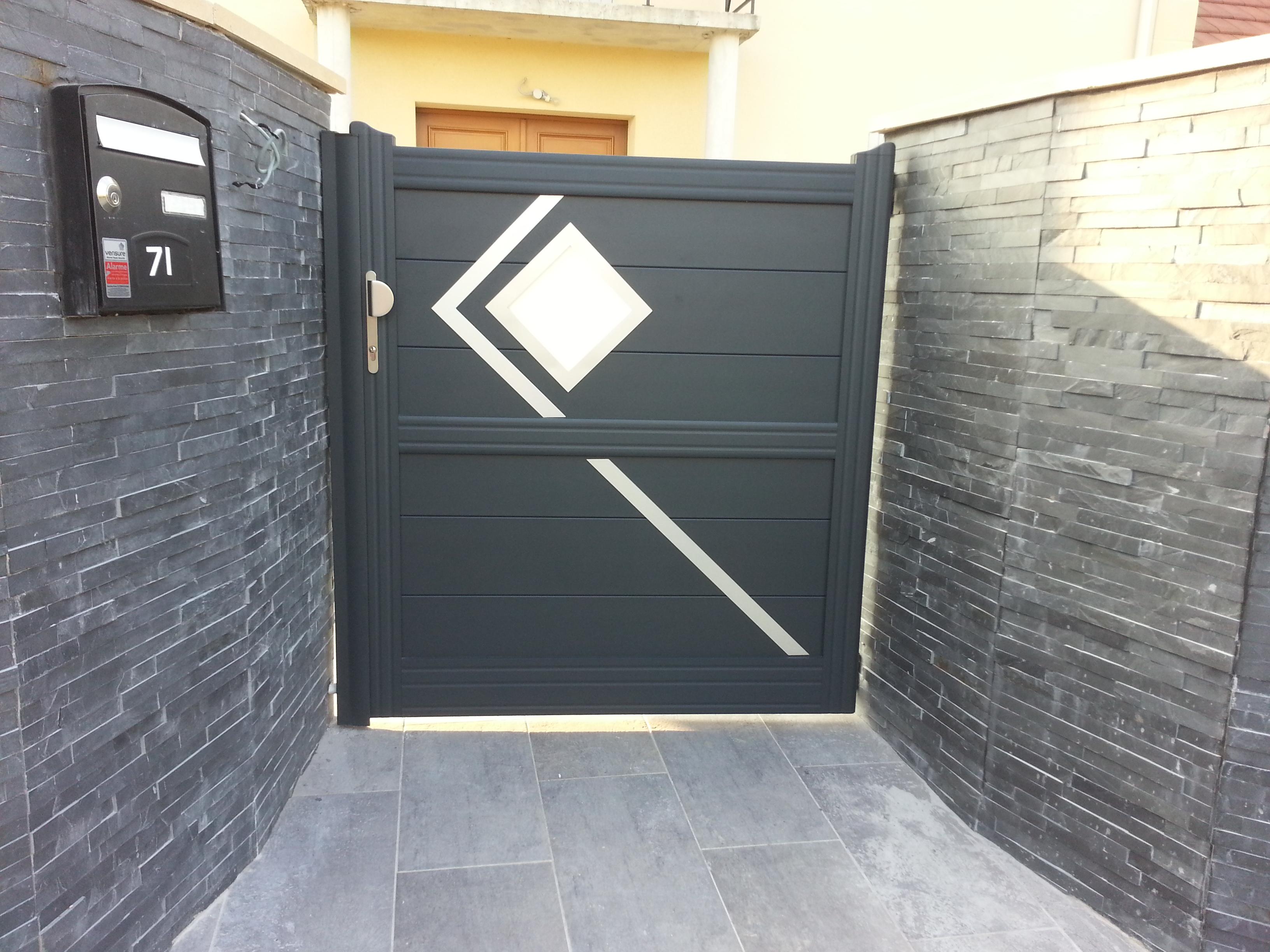 portillon moderne alu 7016. Black Bedroom Furniture Sets. Home Design Ideas